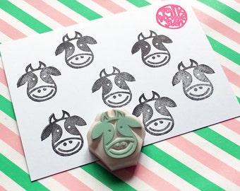 cow hand carved rubber stamp. farm animal stamp. meal stamp. reward calendar stamp. diy birthday wedding baby shower scrapbooking. small