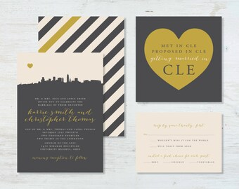 City Skyline (Cleveland) Wedding Invitation Suite (deposit)