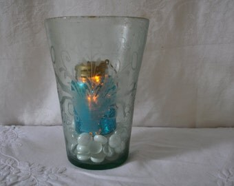 Antique Etched Blown Glass Vase/Repurposed as Hurricane Lamp