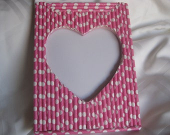 Pink heart paper straws frame, valentine gift, baby shower, mothers day, birthday gift,