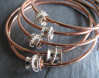 Just for Fun Copper and Silver Spinner Bangle Bracelets