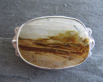 Brooch/Necklace of California Tigereye and Sterling Silver