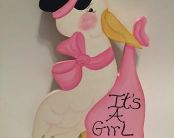 "Bundle of Joy ""It's a Girl"" Stork"