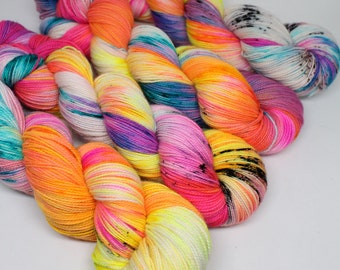 Hand Dyed  Speckled Sock Yarn - SW Sock 80/20 - Superwash Merino Nylon - 400 yards  - Blender