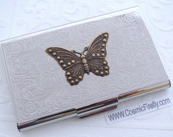 Victorian Butterfly Business Card Case Vintage Style Steampunk Gothic Victorian Scroll Pattern Metal Card Holder Mother's Day Gift For Women