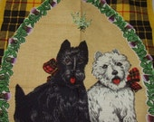 Linen Blend Scottish Dogs Sprig of Heather Kitchen Towel    0826