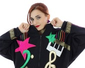 80s Sequin Jacket Applique Music Notes Star Band Musician Oversized Batwing Bedazzeled Sequins Metallic Gold Keyboard Medium M Large L