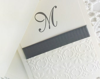 Embossed Monogram Stationery Personalized Stationary with Initial Letter M Blank Notes by Lime Green Rhinestones