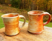 Pair of Wood-fired Coffee Mugs reserved for Flecia