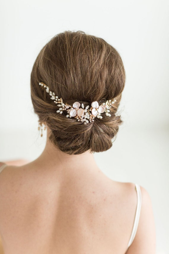 Wedding Hair Vine Set with Earrings , Bridal Headpiece Set, Bridal Pearl Hair Swag Set, Wedding Hair Comb