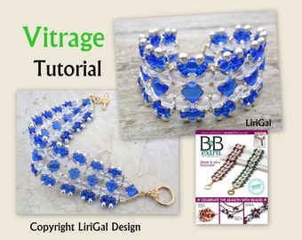 Tutorial Vitrage  Kheops par Puca beads, Silky Beads, SuperDuo beads  Beadwork Bracelet PDF