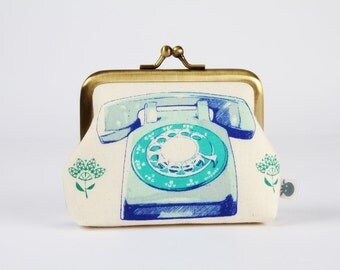 Frame purse - Rotary on natural - Big Aunty / Melody Miller / Cotton and Steel / Trinket / Retro phone in blue and green / vintage style
