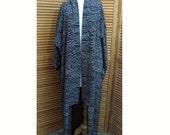 Vintage Sheer Black Graphic Japanese Kimono Goth Steampunk Robe