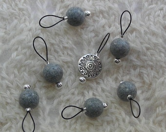Feldspar gray - Knitting Stitch Markers - snag free loop markers - 8mm gemstones and silver  - set of 7 - three loop sizes available