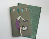 Moleskine Cahier Journal daring young girl in purple blank sketchbook painted