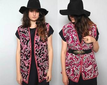 paisley park -- vintage 70s reversible paisley print vest S/M/L