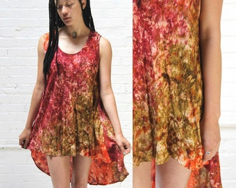 perpetual summer -- vintage psychedelic mottled dye tunic top or dress S/M