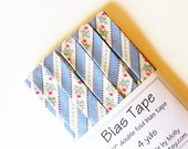 """Cottage Chic Blue white and Pink Rosebud Ticking - 1/2"""" Double Fold Bias Tape - 4 yds"""