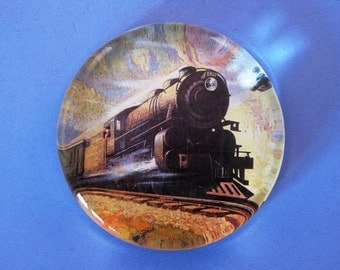 Train Lover Northern Pacific Train Travel Advertising Poster Large Round Glass Paperweight Home Decor