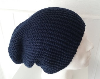 Mens Slouchy Beanie, Hand Knit Hat, Mens Beanie, Winter Accessories