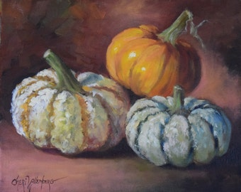 Autumn Still Life Painting Of Gourds,Original Oil On Canvas Wall Art, by Cheri Wollenberg