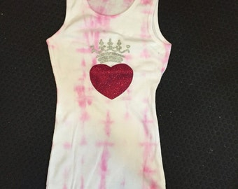 Glitter Crowned Heart Tie Dyed Womens Tank Top RTS