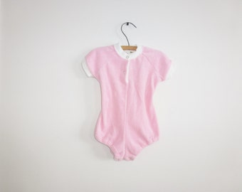 Vintage Pink Terry Cloth Baby Romper
