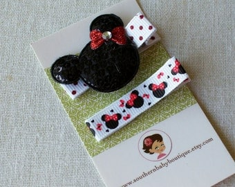 New Item----Boutique Baby Girl Toddler Clippies-----MINNIE-----Set of 2