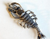Vintage Sterling Silver Lobster Brooch w/ Marcasites - 10 Grams - Fine Detail, Realistic Sea Creature - Nautical Ocean Animal - Naturalistic