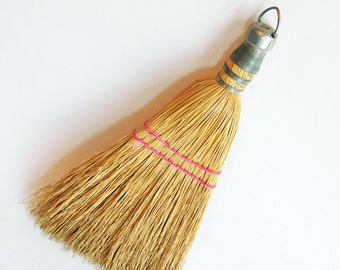 Vintage Small Fit-Rite Straw Whisk Broom Wire Wrapped - Nice Natural Straw, Red Woven Cord - Mid-Century Era Tool - Bale for Hanging