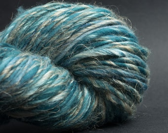 Another Odyssey, HandSpun and Hand dyed Yarn, Silk, Yak, Flax and Merino, heavy worsted to bulky, Single, 90yards