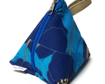 Triangle coin purse, cosmetic bag, gadgets bag, party gift in a blue poppies fabric