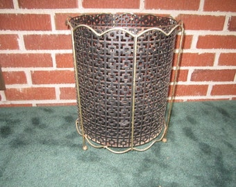 Vintage Mid Century Modern Black Metal Trash Can with Removeable Insert