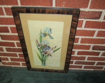 Antique Beautiful Framed Original Watercolor Floral Painting Signed and Dated 1919