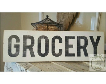 Handpainted Grocery sign.