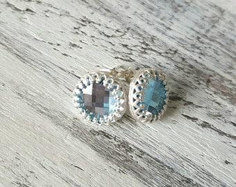 Blue Crystal Earrings Sterling Silver Bezel Aquamarine Birthstone March Jewelry Bridal Gift Bride Mom 925  Elegant Vintage Style Earrings