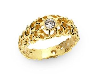 CORAL 14k Gold Diamond Engagement Ring, Diamond Solitaire Ring, Diamond Ring Band, Diamond Ring for Women, Unique Engagement Ring