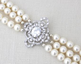 Pearl Bridal bracelet, Crystal Wedding bracelet, Pearl bracelet, Bridal jewelry, Cuff bracelet, Rhinestone bracelet, Wedding jewelry MADISON