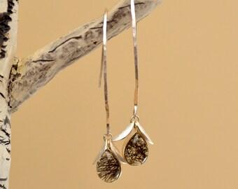 Tourmalinated Quartz Earrings. Sterling Silver Earrings. Black Needles Teardrop Earrings.  Black - White Earrings. Silversmith.