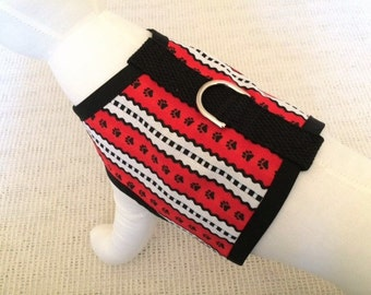 Red, White And Black Dog Harness Vest
