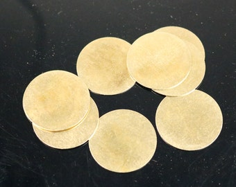 10 pcs BRASS Blanks Disc - 1 inch (25mm) 0.5mm 24G 24 Gauge thickness no Hole RAW Brass Gold Stamping Blanks - Metal Flat Discs Tags