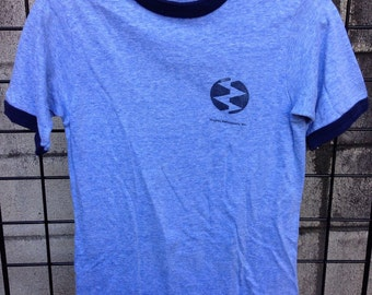 Hughes Helicopters Shirt Vintage 1980s Blue Ringer Hanes Tee T 50/50 S