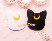 Moon Cat Silhouette Laser Cut Acrylic - 2 pcs | Resin Cabochon Decoden Supplies Jewelry Making Flatback Resin Cabochon
