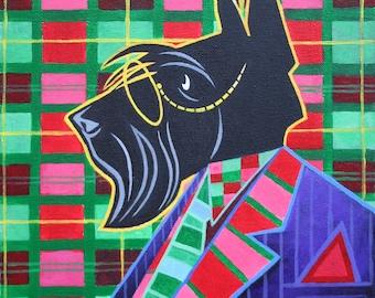 Dr. Groovy - scottish terrier portrait original acrylic painting