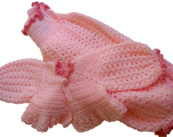 Baby Pink Sweater and Romper, Girl Romper Crochet Set, Pink Baby Set