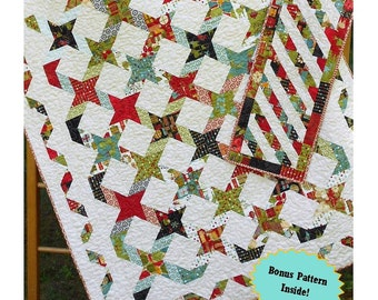 Quilt Pattern  - Twisting With The Stars - - Layer Cake or Jelly Roll PDF INSTANT DOWNLOAD