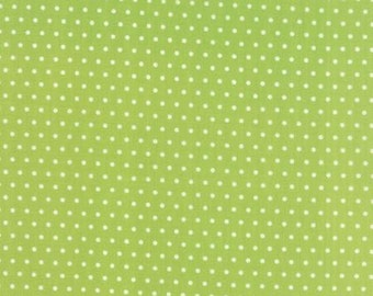 Vintage Picnic Fabric -White Dots on Green from Moda by Bonnie & Camille - 55128 14 - Yardage