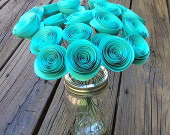 TEAL Rolled Paper Flowers, Spiral Paper Roses (20) - Wedding, Bridal or Baby Shower, Table Centerpiece, Home/Office decor, Gift