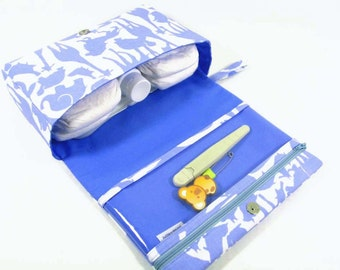 Baby boy diaper bag, animal silhouettes diaper clutch, baby bag, blue diaper purse with clear zipper pouch, baby shower gift