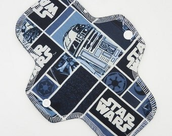 """8.5"""" Pantyliner, Every Day Liner Made with Star Wars Cotton Woven, Windpro Fleece, Cloth Menstrual Pad, MotherMoonPads Cloth Pad"""